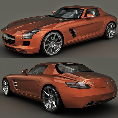 Mercedes benz sls amg 3d model free 3d models for Mercedes benz car models list with pictures