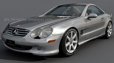 3dSkyHost: Mercedes Benz SL500 3d model