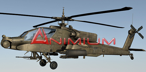 ah-24 apache helicopter 3d render