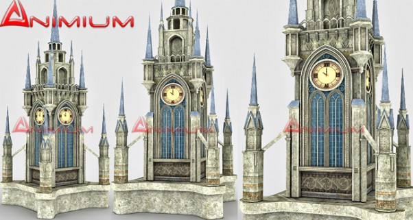 medieval clock tower 3d model