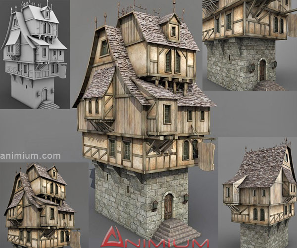 Medieval Tavern Stone House 3d Model Free 3d Models
