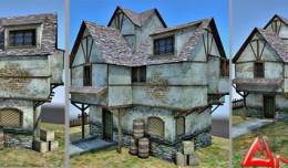 medieval slum 3d scene