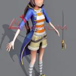 Ninja girl 3d character model