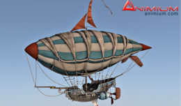 steampunk air ship 3d model