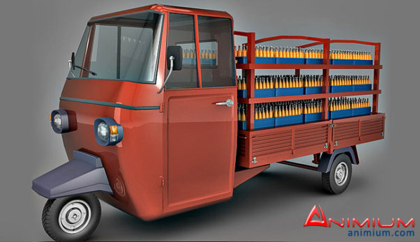 Auto Rickshaw Bottle Carrier 3d model